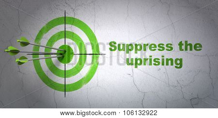 Politics concept: target and Suppress The Uprising on wall background