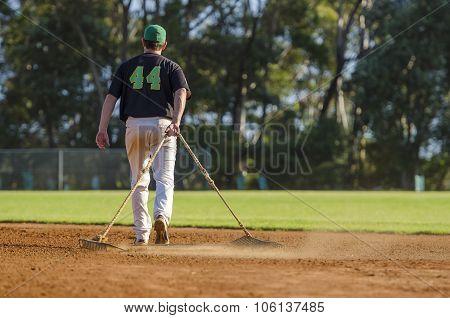 Preparing Baseball Field