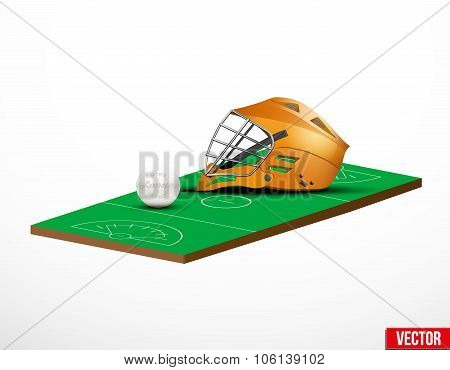 Symbol of a lacrosse helmet and field in three-dimensional space. Vector illustration. poster