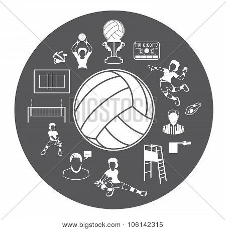 This is Volleyball icons set.It's for volleyball advertising and volleyball illustration. poster