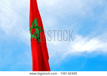 Tunisia  Waving Flag In The Blue Sky  Colour And    Wave