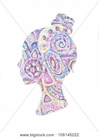 Ethnic Stylized Patterned Profile Of Girl Isolated On White Background. Floral Design.