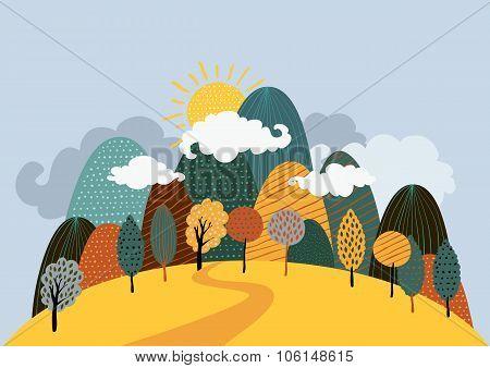 Vector Autumn Landscape Background.