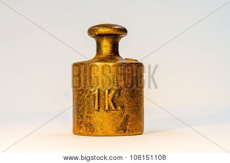 Vintage One Kilogram Golden Calibration Weight