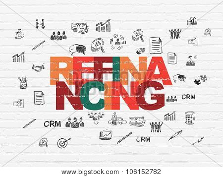 Finance concept: Refinancing on wall background