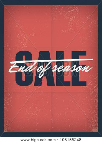 End of season sale poster template. Discounts and special offers promotional banner, flyer, leaflet