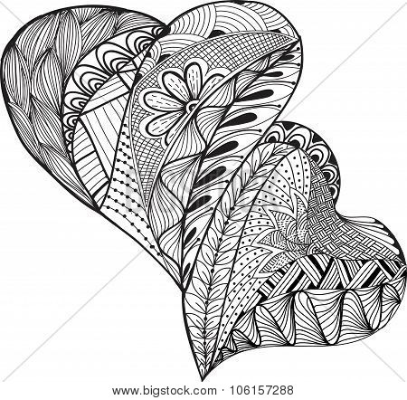 Hand-drawn sketch two  hearts  design. Vector illustration.