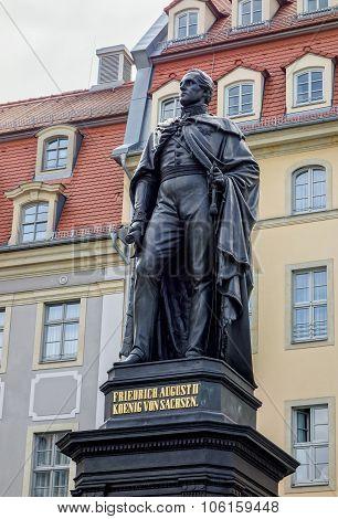 Statue of Friedrich August II in Dresden Germany poster