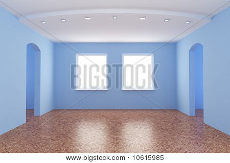 New Room, Empty Interior, with Clipping Path for Windows