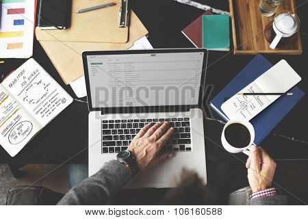 Businessman Working Email Writing Workplace Concept