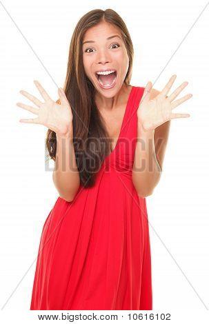 Überraschung Frau glücklich schreien freudig