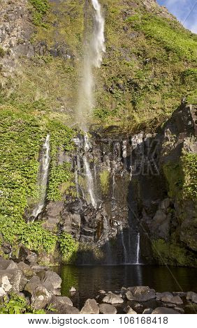 Waterfall And Pool In Flores Island, Azores. Poco Do Bacalhau