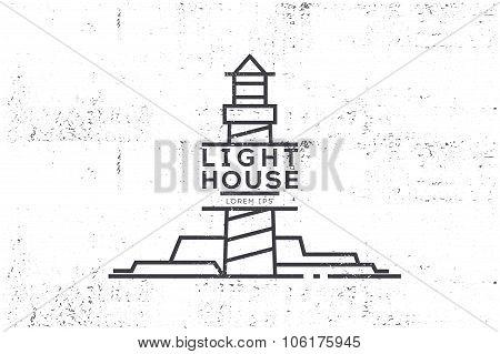 Vintage Label -  Lighthouse. Stock Vector.