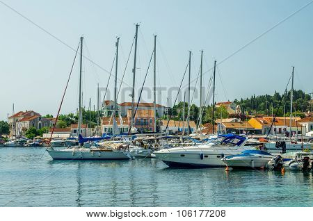 Port Of Fiskardo On Kefalonia Island, Greece.