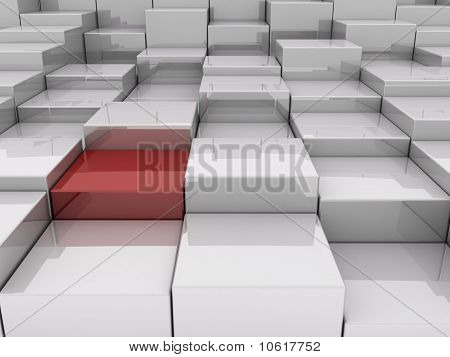 3D rendering of several blocks in an abstract pattern poster