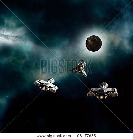 Spaceships Approaching a Dark Planet