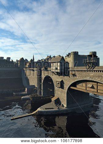 Medieval Bridge and Old Town with Castle