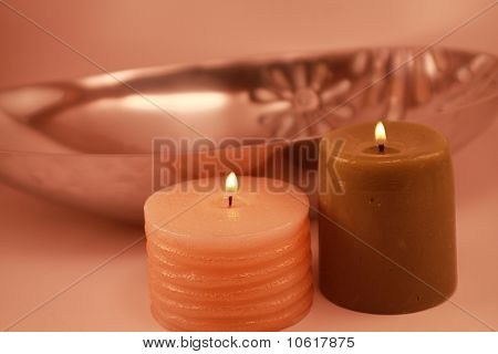 Flaming Candles in a Silver Bowl Romantic Holiday