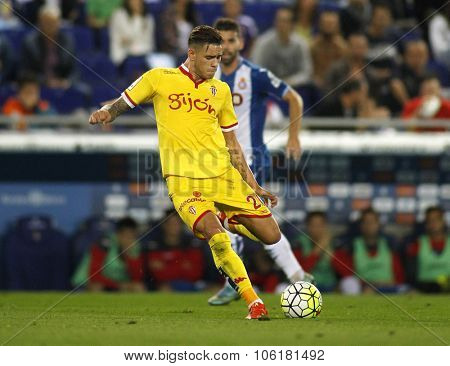 BARCELONA - OCT, 3: Antonio Sanabria of Sporting Gijon during a Spanish League match against RCD Espanyol at the Power8 stadium on October 3 2015 in Barcelona Spain