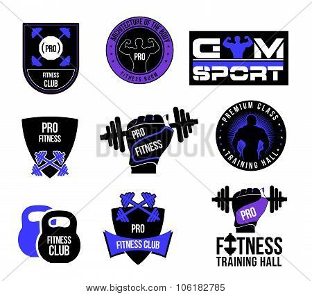 Set fitness club logo and labels.