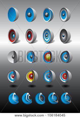 Cutaway spheres icons