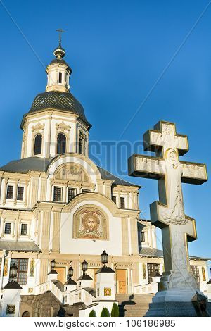 Beautiful orthodox church and white crucifix in Russia. Diveevo poster