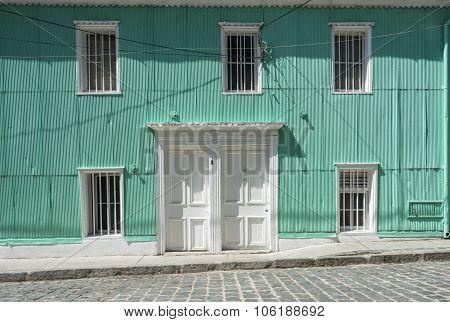 Typical Facade Covered In Zinc, Santa Lucia Hill, Valparaiso