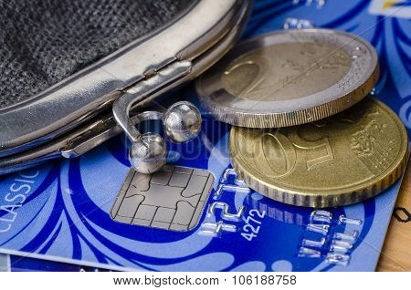 The Old Wallet, Credit Cards And Coins