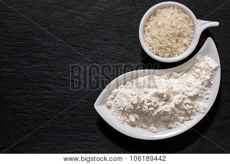 Rice And Rice Flour On The Surface Of The Shale