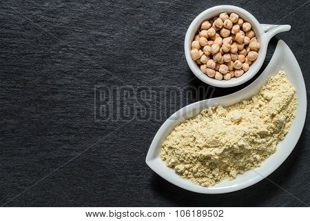 Chickpeas And Chickpea Flour On The Surface Of The Shale