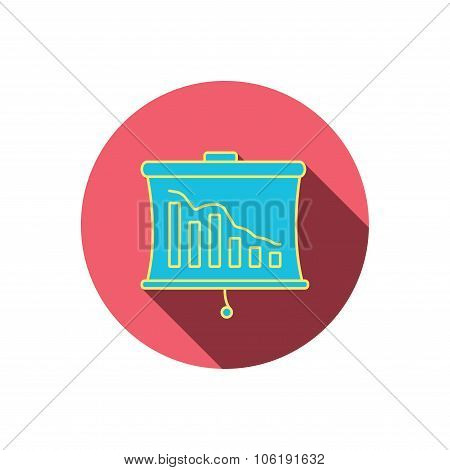 Statistic icon. Presentation board sign. Defaulted chart symbol. Red flat circle button. Linear icon with shadow. Vector poster