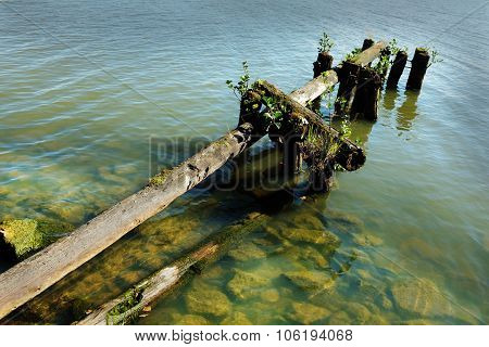 Lake And The Old Destroyed Jetty