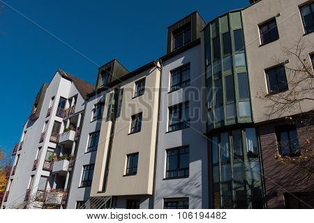 Modern Appartment House In Hilden Before Blue Sky In Autumn