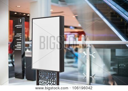 Black blank advertising stand in the mall