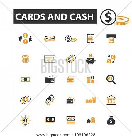 cards, cash, coins, money, bank, finance icon & sign concept vector set for infographics, website