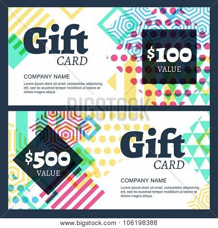 Vector Gift Voucher With Multicolor Geometric Pattern.