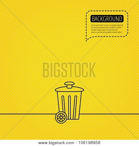 Recycle bin icon. Trash container sign. Street rubbish symbol. Speech bubble of dotted line. Orange background. Vector poster