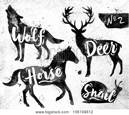 Painted Black Animals Deer