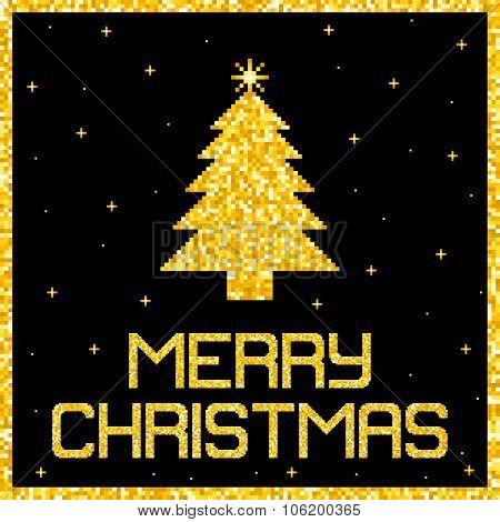 Pixel Gold Glitter Christmas Card. Eps8 Vector