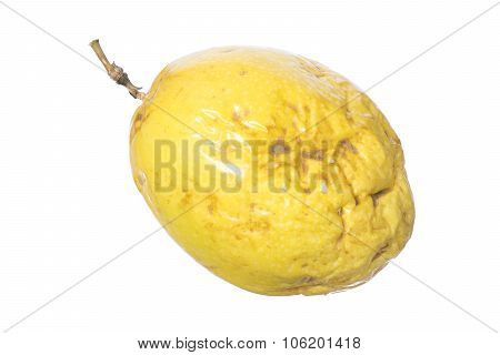 Closeup whole yellow maracuja Passiflora edulis var. flavicarpa passion fruit isolated on white background poster