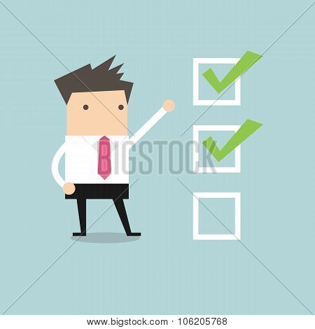 Businessman with important checklist