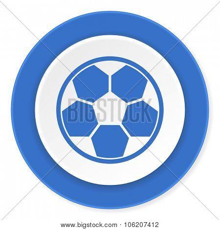 soccer blue circle 3d modern design flat icon on white background