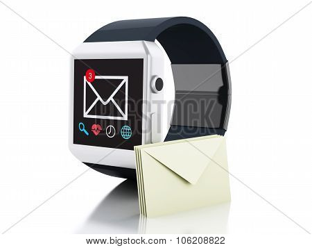 3D Smart Watch With Unread Message Icon. Technology Concept