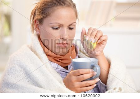 Young Female Caught Cold Drinking Tea Feeling Bad