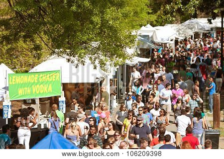 Enormous Crowd Moves Through Exhibit Tents At Atlanta Dogwood Festival