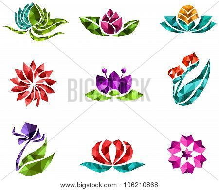 3D Geometric Polygon Jewelry Of Creative Crystal Flower Flora Such As Lotus Daisy Tulip Rose Sakura