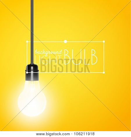 Shining light bulb on a yellow background with copy space. Vector illustration for your design