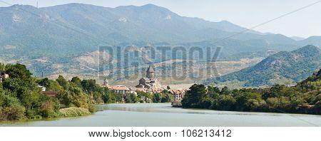 Svetitskhoveli church and castle complex panorama on the Aragvi River in Mtskheta, Georgia
