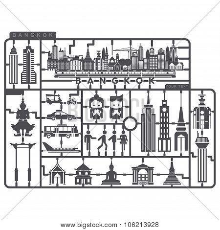 Plastic Model Set Of Bangkok Metropolis