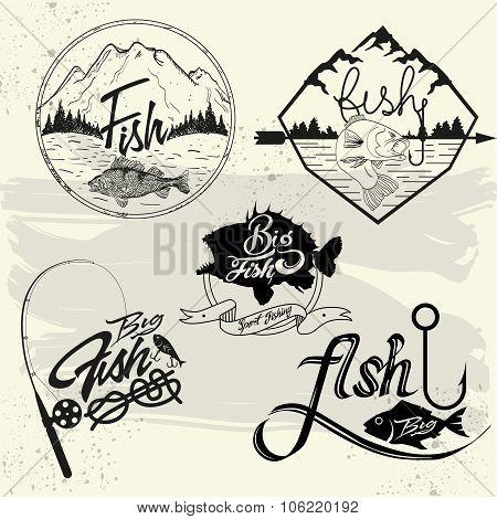 Vector set of fishing club labels, design elements, emblems, badges. Isolated logo illustration in v